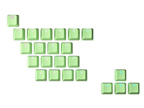 HK Gaming Juego de teclas dobles retroiluminadas de goma   Perfil OEM para teclado mecánico (23 teclas, pistacho)