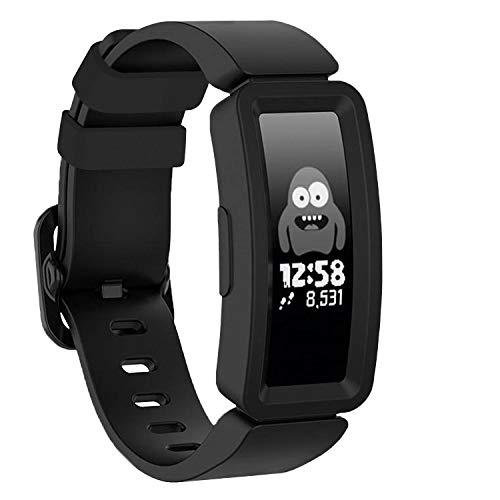 TopPerfekt Armband kompatibel mit Fitbit Ace 2 für Kinder 6, weiches Silikon wasserdicht Armband Zubehör Strap Jungen Mädchen Armbänder Kompatibel für Fitbit Ace 2 (Schwarz)