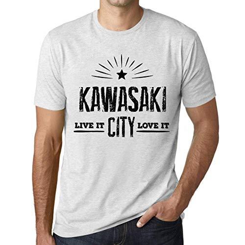 Hombre Camiseta Vintage T-Shirt Live It Love It Kawasaki Blanco Moteado