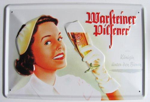 Warsteiner - Blechschild - Frau mit Bierglas - 30x20 cm