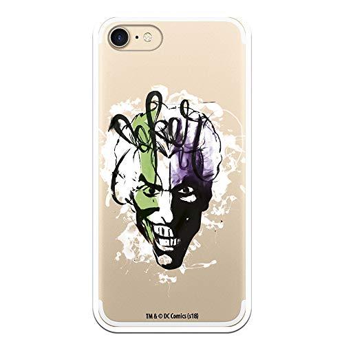 Funda para iPhone 7 - iPhone 8 Oficial de DC Comics Joker Transparente, una Carcasa para iPhone de Silicona Flexible para Proteger tu Móvil con el Joker