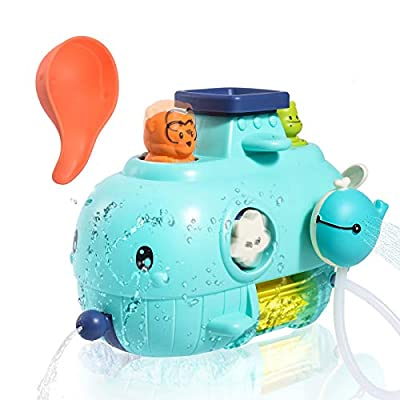 Joyjoz Baby Bath Toys, Spin Sprinkler Water Toys Bathtub Toys for Toddlers Kids 2 3 4 5 6 Year Old, Submarine Bath Toys for Girls Boys Gifts, with Water Scoop Lovely Monkey Hippo