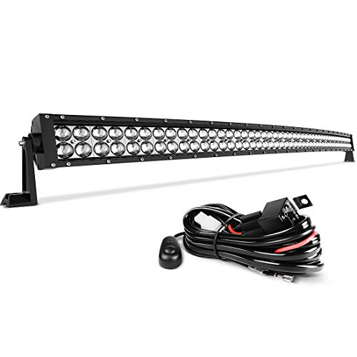 LED Light Bar 50 Inch Curved AUTO Work Light 4D 400W with 8ft Wiring Harness, 40000LM Offroad Driving Fog Lamp Marine Boating Light IP68 WATERPROOF Spot & Flood Combo Beam Light Bar, 2 Year Warranty