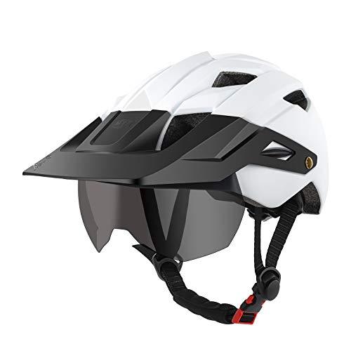 lululeague Fahrradhelm, MTB Mountainbike Helm mit Abnehmbarer Schutzbrille Visor Shield für Mountain und Road Radfahren, Herren Damen