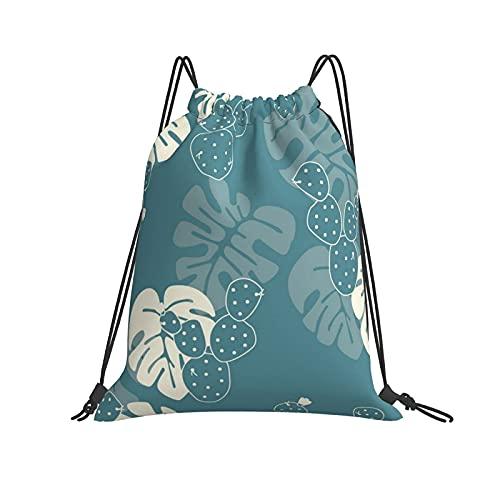 Luxuriöser Rucksack mit süßem Blättermotiv und Kordelzug, für Sport, Fitnessstudio, Wandern, Yoga, Schwimmen, Reisen, Strand, für Damen und Herren