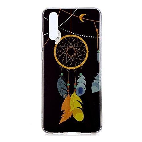QPOLLY Kompatibel mit Huawei P20 Hülle TPU Silikon Leuchtend Bunt bemalt Muster Luminous Handyhülle Ultra Dünn Weich TPU Schutzhülle Handy Tasche Case für Huawei P20,Windspiele