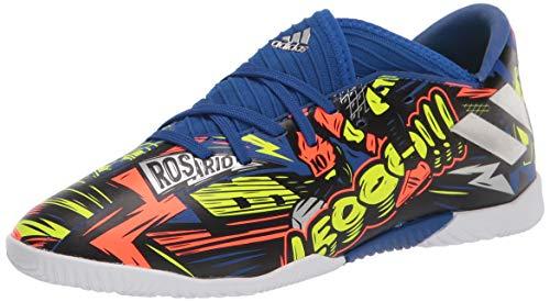 adidas Boy's Nemeziz Messi 19.3 Indoor Soccer Shoe, Royal Blue/Silver/Yellow, 12 Little Kid