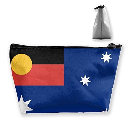Multifunktions-Reisekosmetik-Beuteltasche - Australische Flagge mit Trapez-Make-up-Organizer der Aborigines-Flagge Toilettenartikel-Armband-Geldbörse