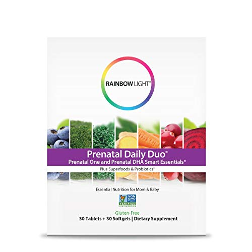 Rainbow Light Prenatal Daily Duo: Prenatal One + DHA - 30 Tablets + 30 Softgel (Package May Vary)