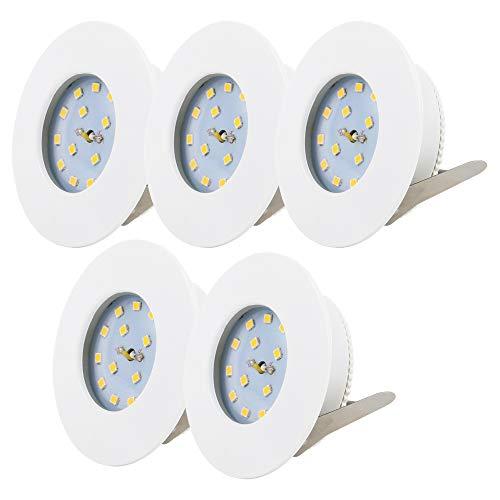 B.K.Licht LED Badeinbaustrahler Ultra Flach Inkl. 5 x 5W 400lm LED Modul IP44 LED Einbauleuchte Warmweiss weiß