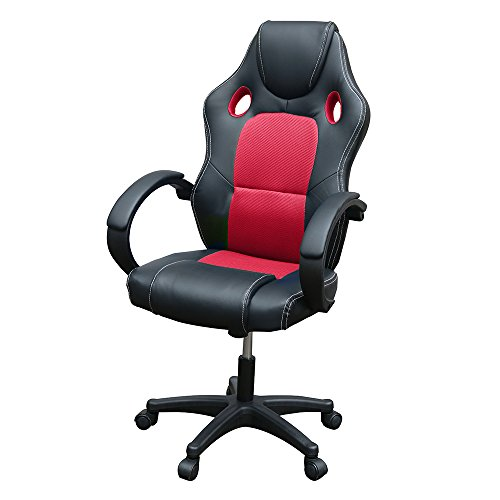 Gaming Chair, Racing Style Office High Back Ergonomic Conference Work Chair Reclining Computer PC Swivel Desk Chair with Lumbar Support&Adjustable Task Gas lift PU Leather (Red)