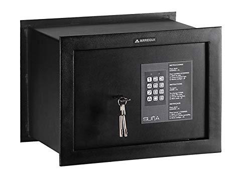 Arregui 30010 Caja fuerte de empotrar electrónica con llave. 380x280x250mm, Negro texturado, 380 x 280 x 250 mm