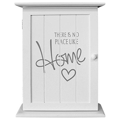 Wohaga® Boîte à clés Armoire à clés Box Tableau porte-clés Armoire murale – 'There Is No Place Like Home', 22 x 29 x 8 cm, avec 6 clés crochets, blanc