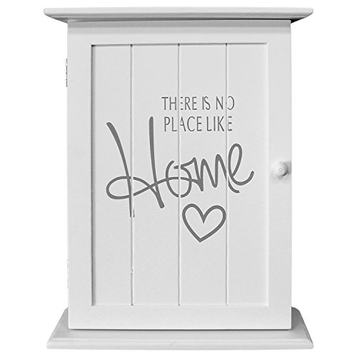 Wohaga® Armario para llaves (Box colgador para llaves (pared armario – 'There is no place like home', 22 x 29 x 8 cm, con 6 llaves Ganchos, color blanco