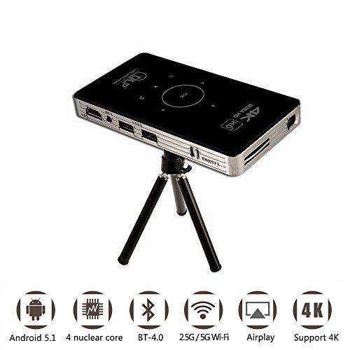 Mini proiettore portatile A18 Android 6.0 supporta 4K e HDMI Input Build-in batteria ricaricabile 5000mAh