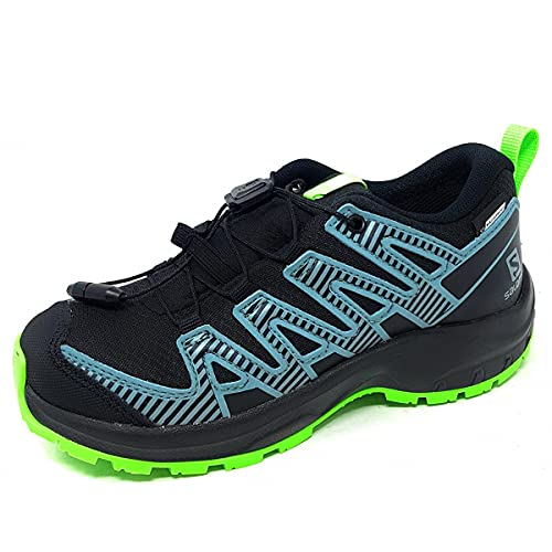 Salomon XA Pro V8 Climasalomon™ Waterproof (impermeable) unisex-niños Zapatos de trail running, Negro (Black/Black/Green Gecko), 33 EU