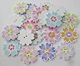 Xucus WBNSNS Multicolors Wood Floral Buttons 25MM 100 Pieces Hand Made Sewing botoes DIY Clothes Accessories - (Color: Mix Randomly, Size: 25mm)