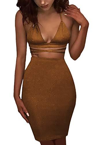 Damen Minikleid Elegant Sommerkleider Größen 3/4 Ärmel Große Shirtkleid V-Ausschnitt Festlich Bekleidung Kurz Etuikleid Uni-Farben Pastell Gemütlich Rüschen Partykleider ( Color : Brown , Size : M )