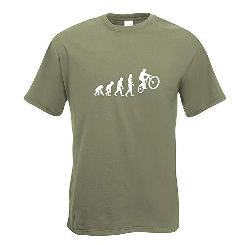 """Kiwistar – Evolution Mountain Bike in 15 T-shirt da uomo con stampa con scritta in lingua inglese """"Evolu"""" in cotone, taglie S, M, L, XL, XXL Oliva M"""