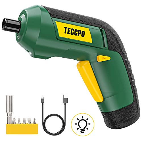 Cordless Screwdriver, Electric Screwdriver Rechargeable, 4V 2000mAh Li-ion, MAX Torque 4Nm - Dual LED, Palm-Sized, 6 Pcs Various Bits, USB Charging with Cable