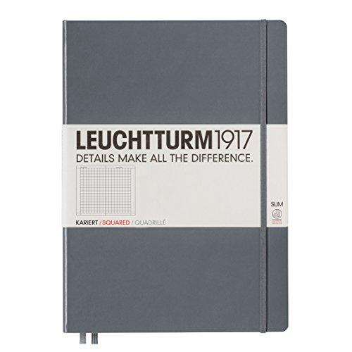 LEUCHTTURM1917 344814 Notizbuch Master Slim (A4+), Hardcover, 123 nummerierte Seiten, Anthrazit, kariert