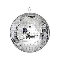 ミラーディスコボール、大型ミラーガラスディスコボールDjダンスホームパーティーバンドクラブステージ照明耐久性のあるディスコボールライト(25Cm)