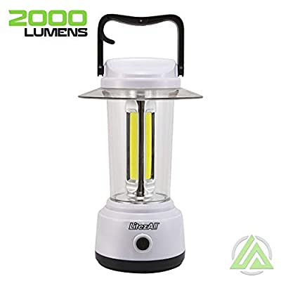 LitezAll 2000 Lumen Camping Lantern - Super Bright 2000 Lumens - Integrated Carry and Hanging Handle - Made of Tough ABS with Rubber Coating Designed to be Weather Resistant - for Camping Outdoor