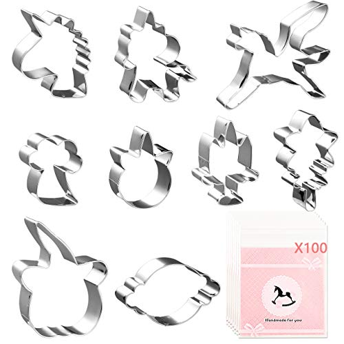 Sanbanfu Kids Cookie Cutters, 9-Piece ,Fun Unicorn Cookie Cutter Set with 100pcs Candy Cookie Bags, Unicorn Fondant Cutters for Kids Holiday Wedding Birthday Party