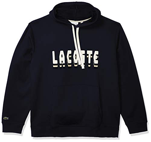 Lacoste Mens Long Sleeve Fleece 3D Sweater Sweatshirt, Navy Blue, XL