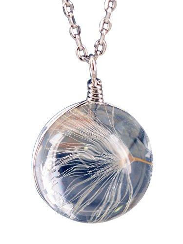 NicoWerk Silberkette mit Anhänger Pusteblume Echt Löwenzahn Glaskugel Halskette Damen 925 Silber Kette Schmuck Sterling SKE258