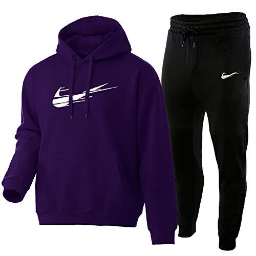 QYAD Chandal Hombre Completo,Juego De Chándales para Hombres Pantalon Unisex Traje Deportivo De Jogging 2 Piezas Conjunto Algodón Purple-M