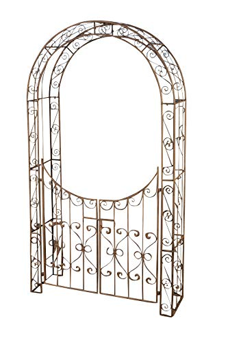 CLP Eisen-Rosenbogen Sina I Torbogen Mit Stilvollen Verzierungen I Rankhilfe Im Landhausstil I, Farbe:antik braun