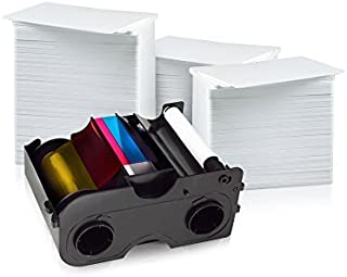 Fargo 400 Print YMCKOK Ribbon for DTC550 (86201) and 400 AlphaCard Premium Blank PVC ID Cards Bundle