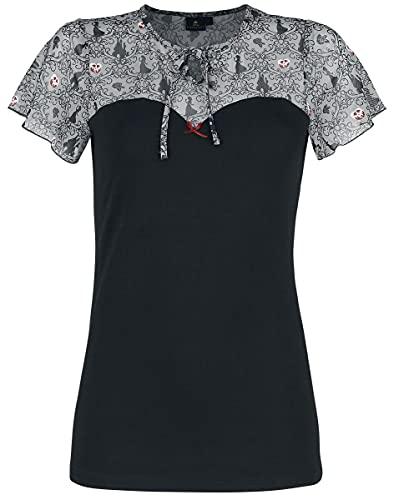 Schneewitchen Bancanieves y los Siete Enanitos Piosoned Apple Mujer Camiseta Negro/Multicolores L