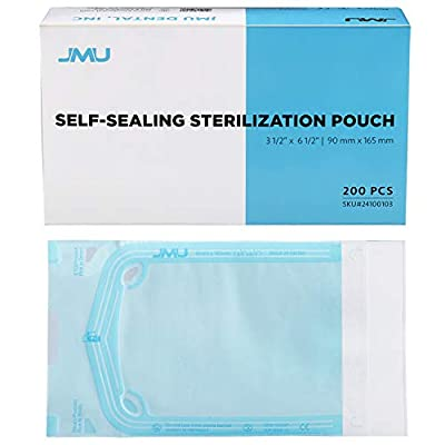 "JMU Self Sealing Sterilization Pouches, Autoclave Sterilizer Peel Bags Dual Indicator for Dental Medical Instrument Cleaning Tools, 3.5"" x 6.5"", Pack of 200"