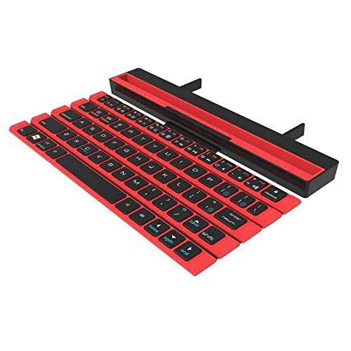 AOIWE Teclado Inteligente Wireless Bluetooth Teclado para teléfonos móviles Android All Plano Portátil Teclado Plegable (Color : Red)
