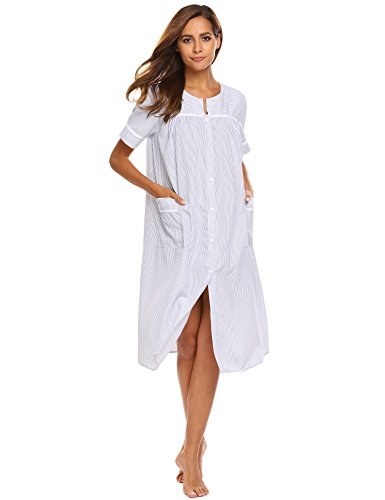 Ekouaer Women's Striped Sleepwear Button Down Duster Short Sleeve House Dress Nightgown S-XXL