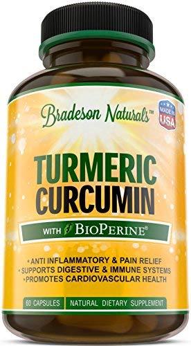 Turmeric Curcumin with BioPerine Anti Inflammatory – 60 Capsules – Turmeric Root Extract, 95% Standardized Curcuminoids, Black Pepper Extract – Antioxidant & Joint Support
