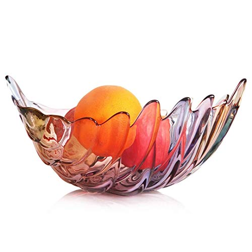 ZHANGYUEFEIFZ Support Gateau Bonbon Saladier sans Plomb Verre Fruit Plaque de Verre Brillant Feuille Fruit Seau Fruits secs Fruit Basket Fruit Bowl Plate Fruit (Color : A)