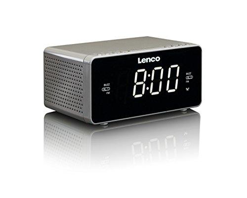 Lenco CR-530 Stereo Funk Uhrenradio mit 2 Weckzeiten, 1,2 Zoll LED Display, dimmbar, Sleep-Timer, Schlummerfunktion, AUX-Eingang, grau