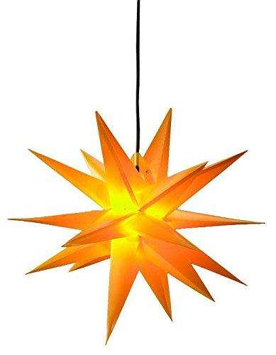 Gelber Weihnachtsstern zum Hängen - 3D Dekostern mit 18 Zacken - Durchmesser: 100cm (Jumbo) - Beleuchteter Hängestern für den Außenbereich (Wetterfest)