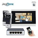 Sonnette d'interphone vidéo WiFi IP vidéo, moniteurs Couleur 7 Pouces et visiophone HD monté en...