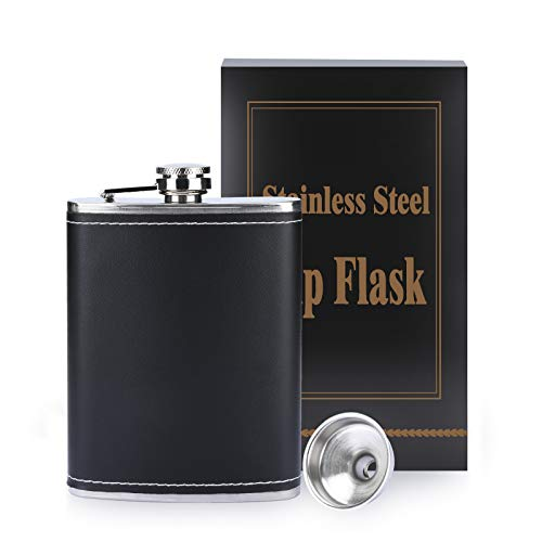 TRUSBER 8oz Hip Flask with Black Leather Cover and Funnel,304 Stainless Steel Leak Proof,Pocket Hip Flask for Discrete Shot Liquor Whiskey Champagne Cocktail Alcohol Rum and Vodka Gift for Men