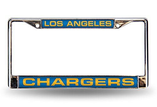 Rico Industries NFL Los Angeles Chargers Laser Cut Inlaid Standard License Plate Frame, 6' x 12.25', Chrome