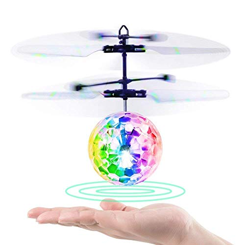 PETRLOY Kugel, Kinder-Minispielwaren-RC Fliegen Hover Disco-Kugel-Spielzeug-Hubschrauber-Drohne Infrarot-Induktion mit Built-in Blinkender LED-Licht for Jungen, Mädchen, Jugendlich