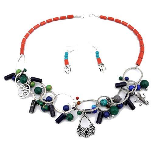 Shivi ¡Cuentas de Coral lapislázuli Azul Turquesa! Conjunto DE Pendientes con Collar Hecho A Mano Tribal 18'de Largo, joyería de Arte chapada en Plata esterlina! Tienda de Variedad Completa!