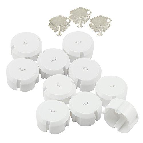 com-four® 10x Steckdosen Kindersicherung - Kindersicherung Steckdose mit Metall-Schlüssel - Steckdosen Schutz für Babys und Kleinkinder (10 Stück)