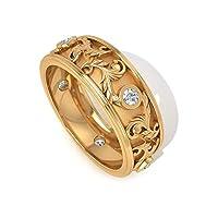 IGI認定ダイヤモンドリーフ結婚指輪アールデコフィリグリーゴールドブライダルリング HI-SI カラークラリティダイヤモンドエタニティリング刻印プロミス結婚指輪, 10K イエローゴールド, Size: 15