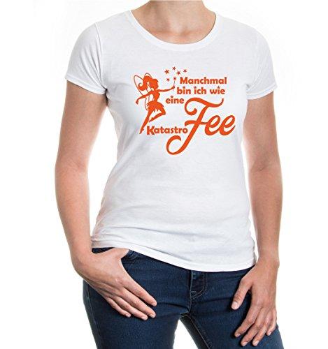 Preisvergleich Produktbild buXsbaum® Damen Kurzarm Girlie T-Shirt Bedruckt Manchmal Bin ich wie eine Katastrofee / Spruch Mädchen Fee / S White-orange Weiß