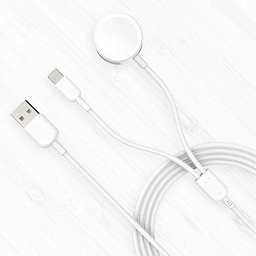 Accocam 2in1 Wireless Watch Charger Magnetic Cable for Watch Series 5/4/3/2/1 Compatible with iPhone 11/11Pro/11Max/XR/XS/XS Max/X/iWatch Series 5/4/3/2/1